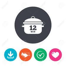 symbole cuisine bouillir 12 minutes icône de signe de casserole de cuisine symbole