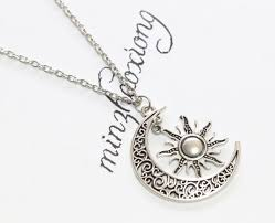vintage silver crescent moon sun charm pendant crescent moon and