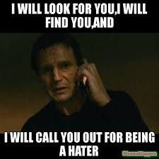 Hater Meme - i will look for you i will find you and i will call you out for