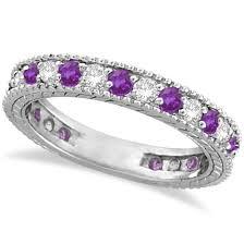 amethyst wedding rings diamond amethyst eternity ring band 14k white gold 1 08ct allurez