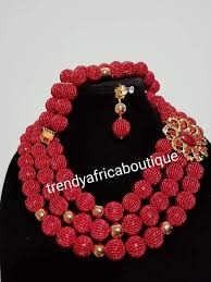 beaded coral necklace images Sale 3pcs hand beaded necklace set nigerian african traditional jpg