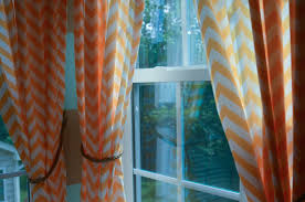 Orange Panel Curtains Wall Decor Chevron Curtains In Black And White With Window And