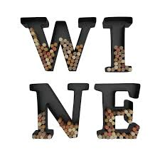 shop amazon com wine racks wine letter cork holder art wall decor metal all 4 letters w i n e includes