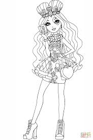 ever after high lizzie hearts coloring page free printable