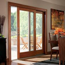 glass and wooden doors wood trim on sliding glass door and window in kitchen