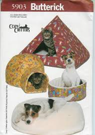 Dog Igloos Butterick 5903 Igloo Pyramid Pillbox Pet Bed Uncut Pattern Instruction