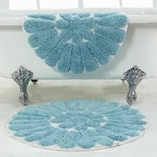Square Bath Rug Bathroom Bursting Flower Design Bathroom Rug Sets In Pretty Blue