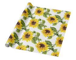 sunflower wrapping paper ready to ship sunflower gift wrap yellow wrapping