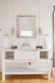 cottage style bathroom sink vanity using farmhouse