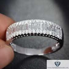 eternity wedding bands channel set baguette diamond half eternity wedding band or