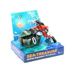 treasure diving chest live aerating aquarium ornaments