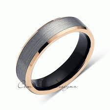 Mens Gunmetal Wedding Rings by Gray And Rose Gold Tungsten Wedding Band Black Brushed