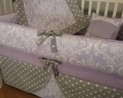 Lilac Damask Crib Bedding Baby Bedding Light Pink Gray Damask Crib Bedding 5pc