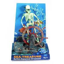 aquarium decoration air aquarium ornament skeleton on wheel