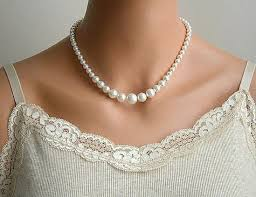 pearl necklace gifts images Pearl necklace bridal pearl necklace vintage style necklace jpg