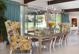 Sunburst Chandelier Mismatched Dining Chairs Dining Room Shabby Chic Style With