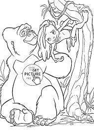 coloring page of gorilla gorilla coloring pages little tarzan with mom for kids printable