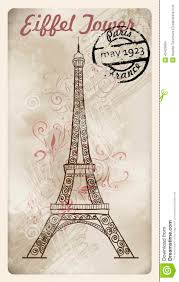 Eiffel Tower Decoration Vintage Postcard With Decoration Eiffel Tower Stock Illustration