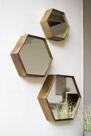 Antique Bathroom Mirrors Sale by Antique Finished Hexagon Mirrors Set Of 3 Shelf Ideas