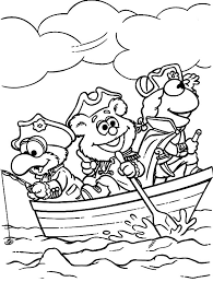 kermit frog muppets friends boat coloring pages