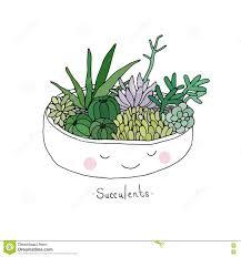 cartoon cute succulents in pot stock vector image 75058040