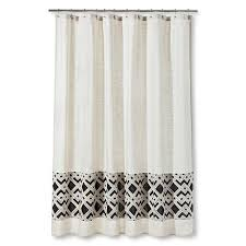 Curtain Band Patterned Band Shower Curtain In Black And Beige