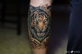 amazing color ink tiger on leg by giena revess
