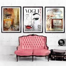 home decor vogues prints set of 3 chanel art prints vogue