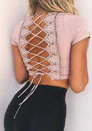 pink patchwork lace hollow out crop tie back open back t shirt t