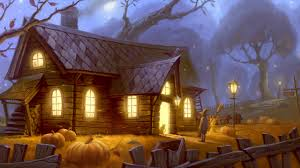 1366x768 unidcolor pumpkin forest house light cat halloween