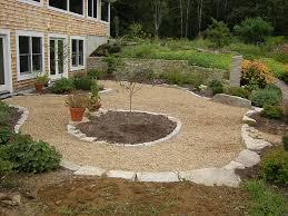 Rock Patio Design Gravel And Barkmulch Walkways Loose Pebble Patio In Pebble Floor