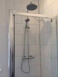 Bathroom White Brick Tiles - large format brick pattern tiling with bathroom installation in
