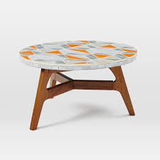 Mosaic Tiled Coffee Table Mid Century Orange Top West Elm