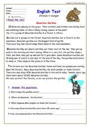 reading comprehension test for grade 5 test animals in danger 5 pages reading comprehension and writing