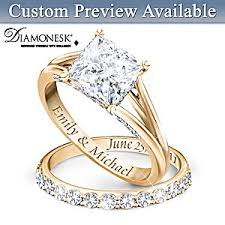 bridal ring set princess 18k gold plated personalized bridal wedding ring set for