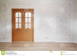 wooden door in simple room with wooden floor stock photos image