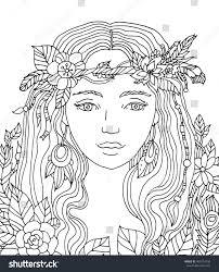 pretty elegant floral wreath coloring stock vector 403274236