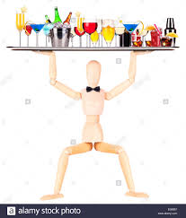 martini cocktail cartoon wooden dummy waiter with tray full of alcoholic drinks and