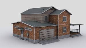 Two Story Houses Two Story House 3d Model Cgtrader