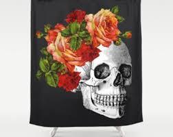 Skull Shower Curtain Hooks Skull Shower Curtain Etsy