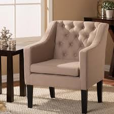 upholstered club chair baxton studio brittany contemporary beige fabric upholstered