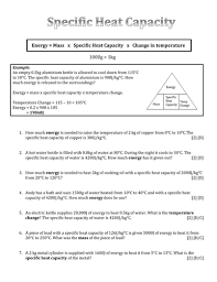 specific heat capacity by gjheducation teaching resources tes