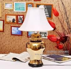 Vase Table Lamp Jingdezhen Gold Ceramic Hand Painted Vase Table Lamps For Bedroom