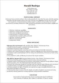 Aviation Resume Examples by Professional Endoscopy Nurse Templates To Showcase Your Talent