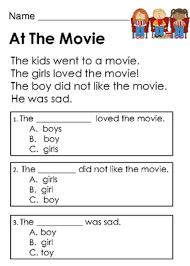 kindergarten reading passage kindergarten reading comprehension passages with choice