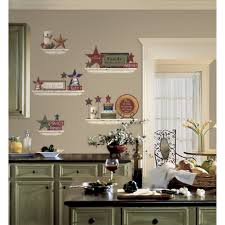 kitchen wall design with red kitchen decor ideas and brown floor