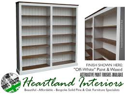 white or cream painted solid wood 6ft x 6ft adjustable butted bookcase
