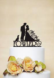 fireman cake topper wedding cake topper custom cake topper with surname date and dog