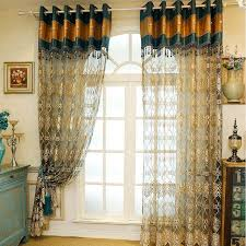 Blue And Gold Curtains Europe Style Luxury Embroidered Tulle Curtains For Living Room
