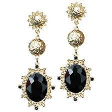 black drop earrings gold color big black resin gems dangle drop earrings loxlux jewelry